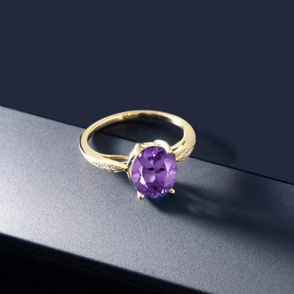 指輪 リング 2.24カラット 天然アメジスト 14金 イエローゴールド(K14) 天然ダイヤモンド