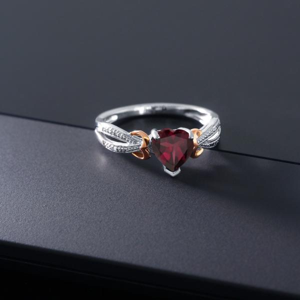 指輪 リング 0.73カラット 天然ロードライトガーネット シルバー925 &10金 ピンクゴールド (K10) 天然ダイヤモンド