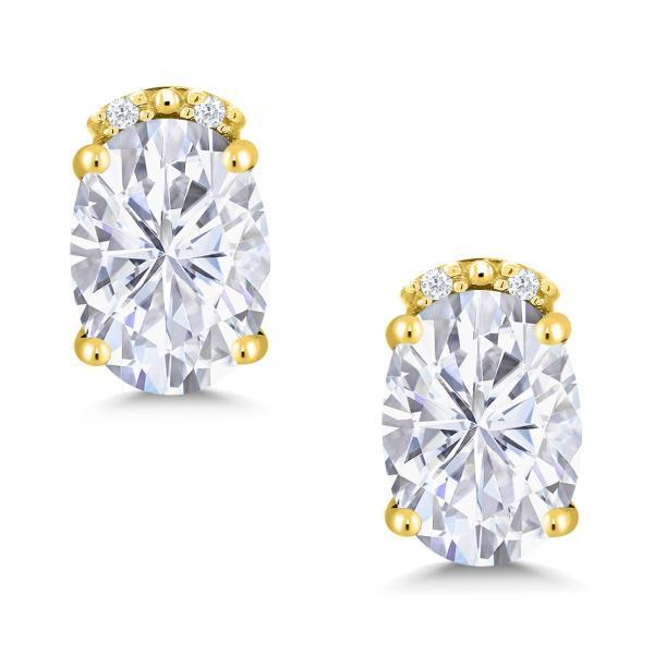 ピアス 1.83カラット モアッサナイト Charles & Colvard 10金 イエローゴールド(K10) 天然ダイヤモンド
