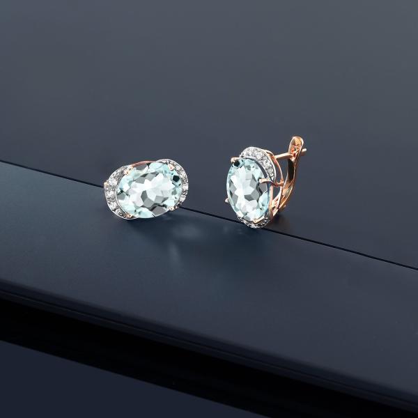 ピアス 8カラット シミュレイテッド アクアマリン 10金 ローズゴールド(K10) 天然ダイヤモンド