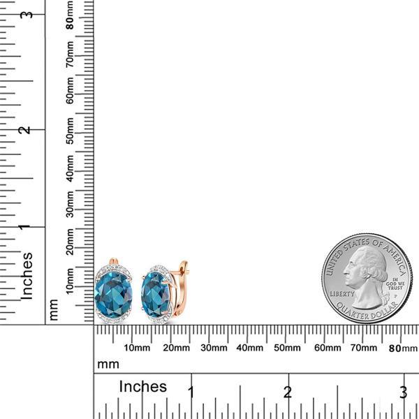 ピアス 10.54カラット 天然トパーズ(ロンドンブルー) 10金 ローズゴールド(K10) 天然ダイヤモンド