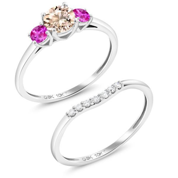 指輪 リング 0.73カラット 天然モルガナイト(ピーチ) サファイア(ピンク) 合成ダイヤモンド 10金 ホワイトゴールド(K10)