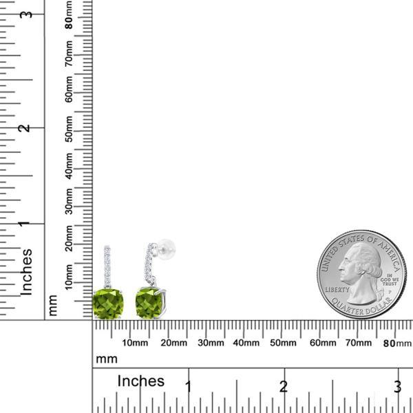 ピアス 5.09カラット 天然石ペリドット 10金 ホワイトゴールド(K10)
