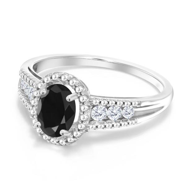 指輪 リング 1.25カラット 天然サファイア(ブラック) シルバー925