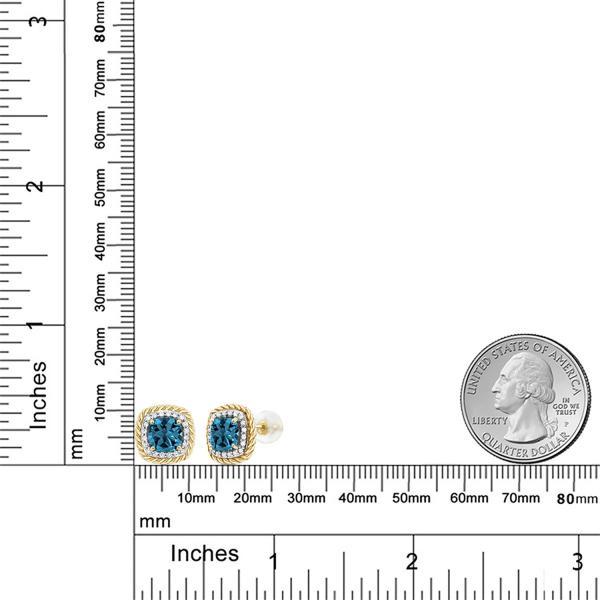 ピアス 2.54カラット 天然トパーズ(ロンドンブルー) 10金 イエローゴールド(K10) 天然ダイヤモンド