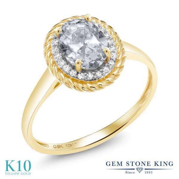 指輪 リング 1.45カラット 天然トパーズ(無色透明) 10金 イエローゴールド(K10) 天然ダイヤモンド