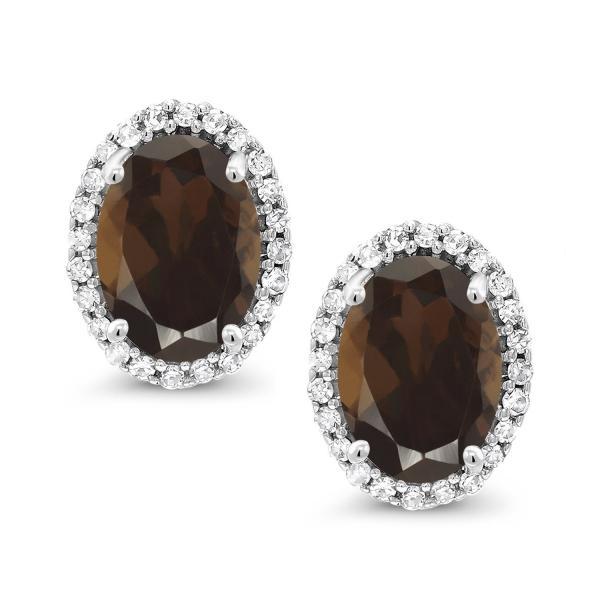 ピアス 1.84カラット 天然スモーキークォーツ(ブラウン) 10金 ホワイトゴールド(K10) 天然ダイヤモンド