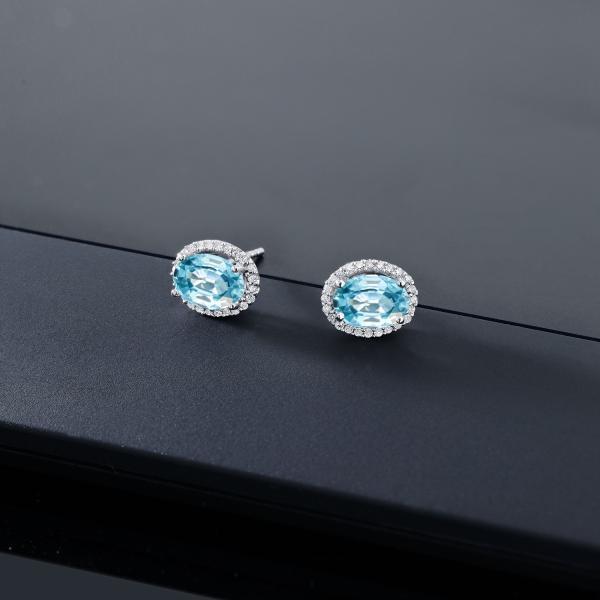 ピアス 2.74カラット 天然石 ジルコン(ブルー) 10金 ホワイトゴールド(K10) 天然ダイヤモンド