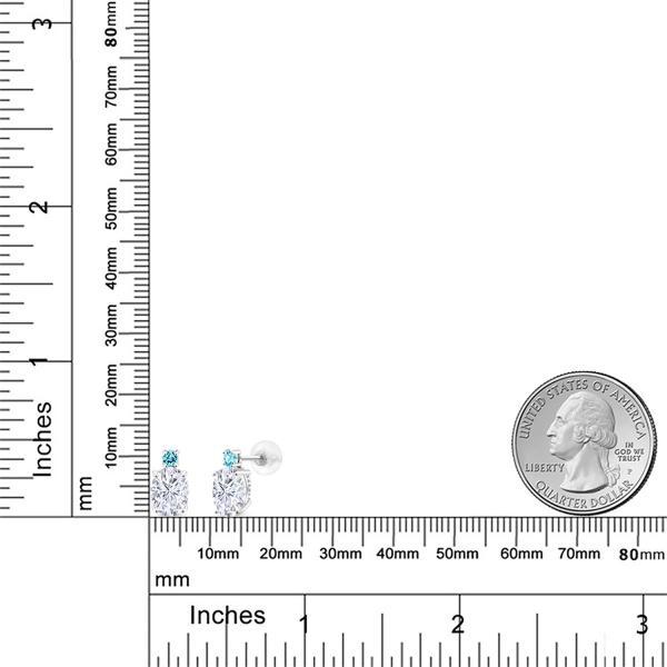 ピアス 3.16カラット モアッサナイト Charles & Colvard シミュレイテッドトパーズ(スカイブルー) 14金 ホワイトゴールド(K14)