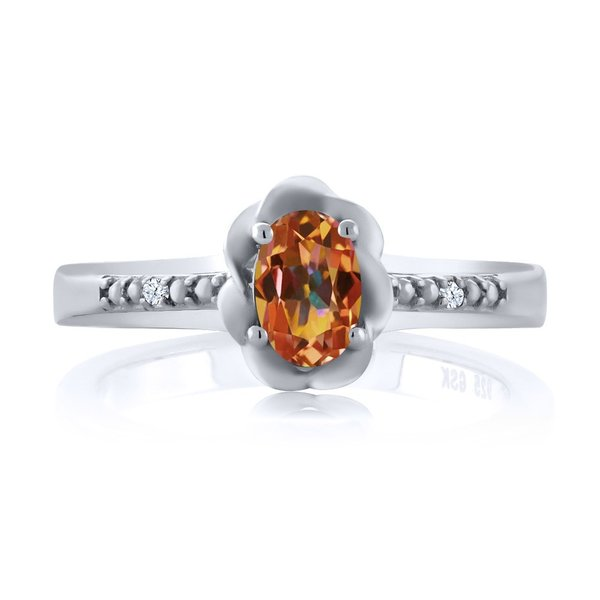 指輪 リング 0.52カラット 天然石 エクスタシーミスティックトパーズ 天然トパーズ(無色透明) シルバー925
