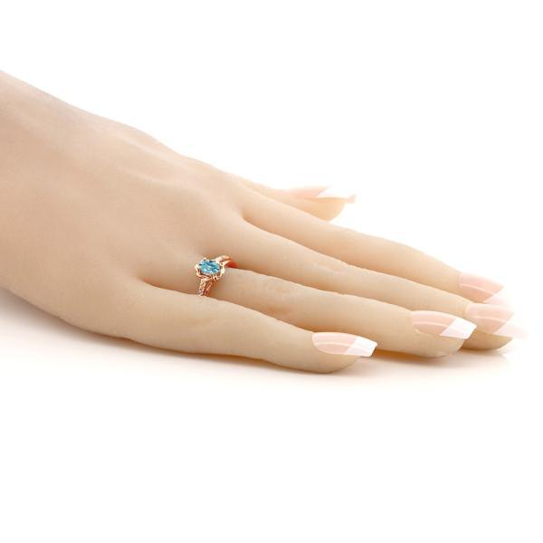 指輪 リング 0.76カラット 天然石 ジルコン(ブルー) シルバー 925 ローズゴールドコーティング 天然ダイヤモンド