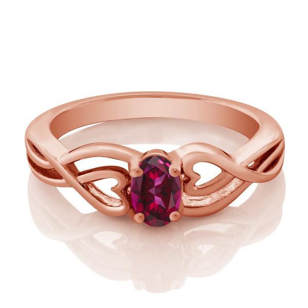 指輪 リング 0.5カラット 天然石レッドトパーズ(スワロフスキー 天然石シリーズ) シルバー 925 ローズゴールドコーティング