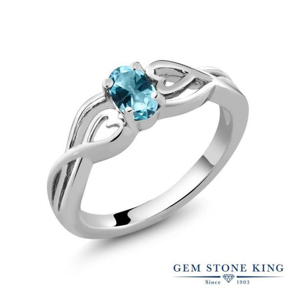 指輪 リング 0.5カラット 天然石トパーズ アイスブルー(スワロフスキー 天然石シリーズ) シルバー925