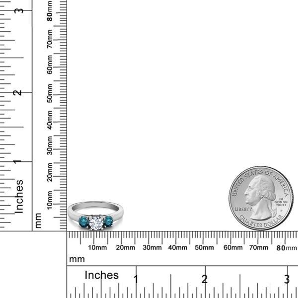 指輪 リング 1.04カラット モアッサナイト Charles & Colvard シルバー925 天然ブルーダイヤモンド