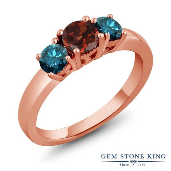 指輪 リング 1.54カラット 天然ガーネット シルバー 925 ローズゴールドコーティング 天然ブルーダイヤモンド