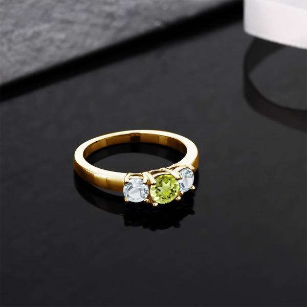 指輪 リング 1.05カラット 天然石ペリドット 天然アクアマリン シルバー 925 イエローゴールドコーティング