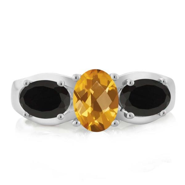 指輪 リング 1.48カラット 天然シトリン 天然ブラックオニキス シルバー925