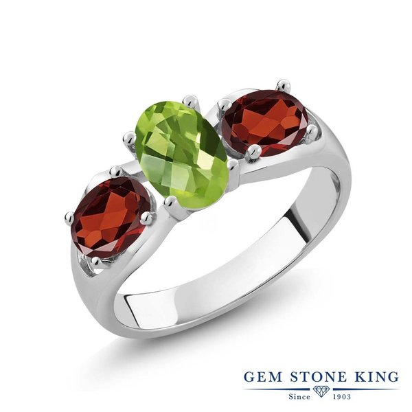 指輪 リング 1.85カラット 天然石ペリドット 天然ガーネット シルバー925