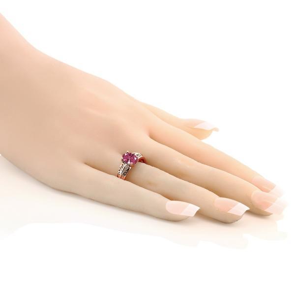 指輪 リング スワロフスキージルコニア(レッド) シルバー 925 ローズゴールドコーティング