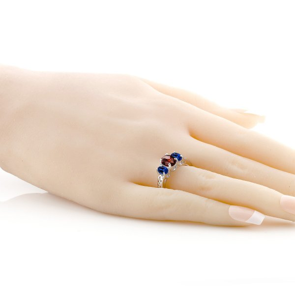 指輪 リング 2.4カラット 天然ガーネット シミュレイテッドサファイア シルバー925