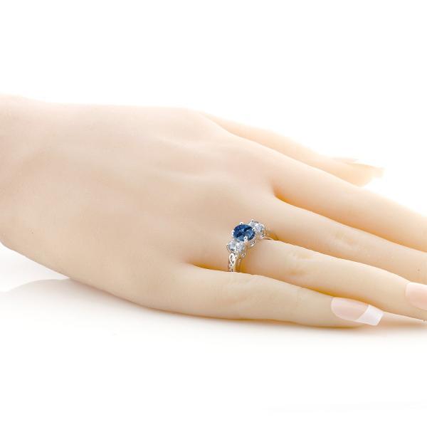 指輪 リング 2.3カラット 天然ミスティックトパーズ(サファイアブルー) 天然トパーズ(無色透明) シルバー925