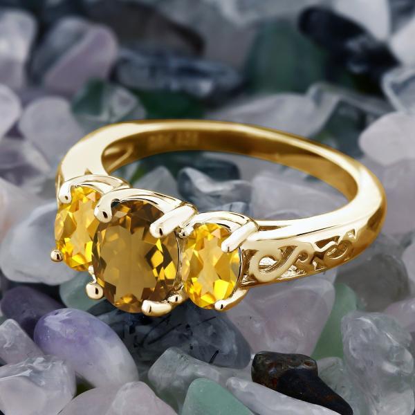 指輪 リング 1.8カラット 天然石ウィスキークォーツ 天然シトリン シルバー 925 イエローゴールドコーティング