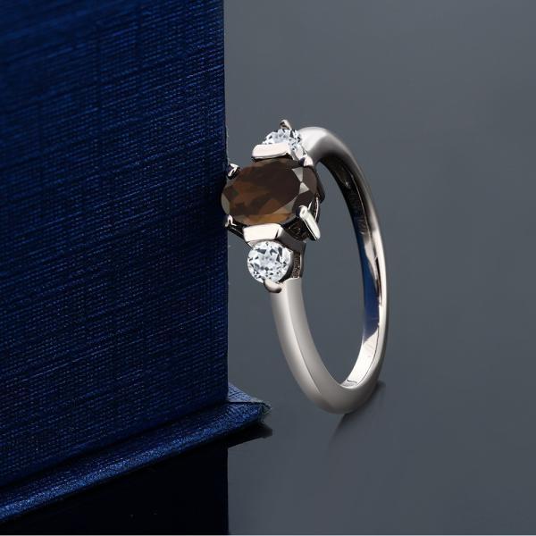 指輪 リング 1.03カラット 天然スモーキークォーツ(ブラウン) 天然トパーズ(無色透明) シルバー925