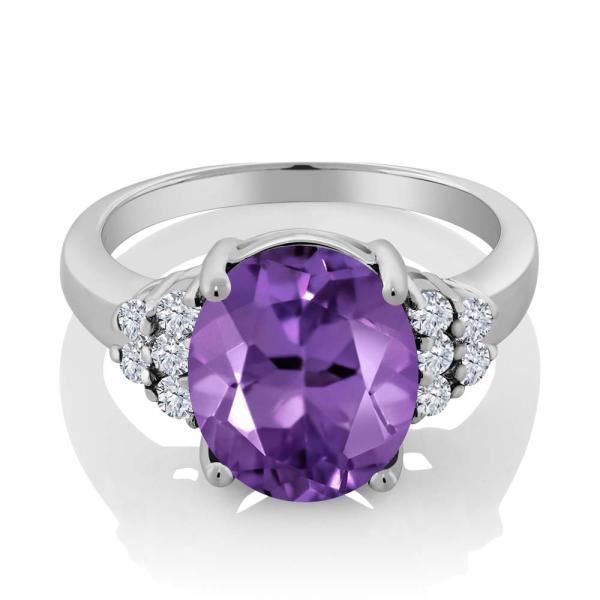 指輪 リング 4.83カラット 天然アメジスト シルバー925 天然ダイヤモンド
