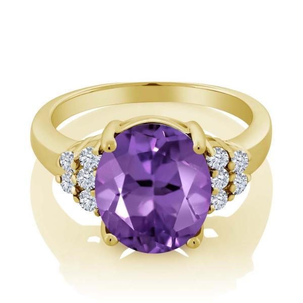指輪 リング 4.83カラット 天然アメジスト シルバー 925 イエローゴールドコーティング 天然ダイヤモンド