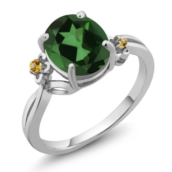 指輪 リング 2.74カラット 天然石 ミスティッククォーツ(グリーン) イエローシトリン シルバー925