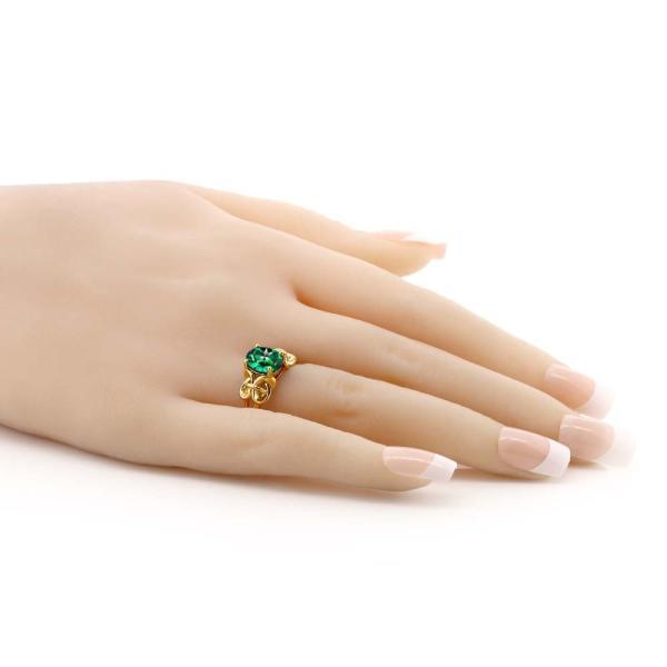 指輪 リング 2カラット 天然石トパーズ レインフォレスト(スワロフスキー 天然石シリーズ) シルバー 925 イエローゴールドコーティング
