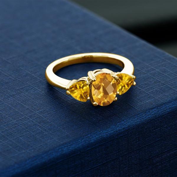指輪 リング 2.07カラット 天然シトリン シルバー 925 イエローゴールドコーティング