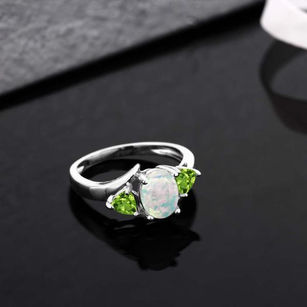 指輪 リング 1.57カラット シミュレイテッドホワイトオパール 天然石ペリドット シルバー925