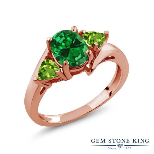 指輪 リング 2.62カラット シミュレイテッド エメラルド 天然石ペリドット シルバー 925 ローズゴールドコーティング