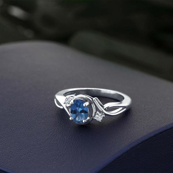 指輪 リング 1.03カラット 天然ミスティックトパーズ(サファイアブルー) 天然トパーズ(無色透明) シルバー925(純銀)