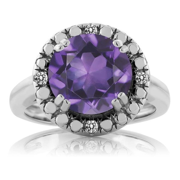 指輪 リング 3.05カラット 天然アメジスト シルバー925 天然ダイヤモンド
