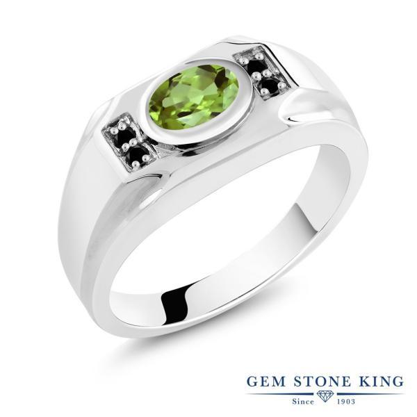 指輪 リング 1.46カラット 天然石ペリドット シルバー925 天然ブラックダイヤモンド