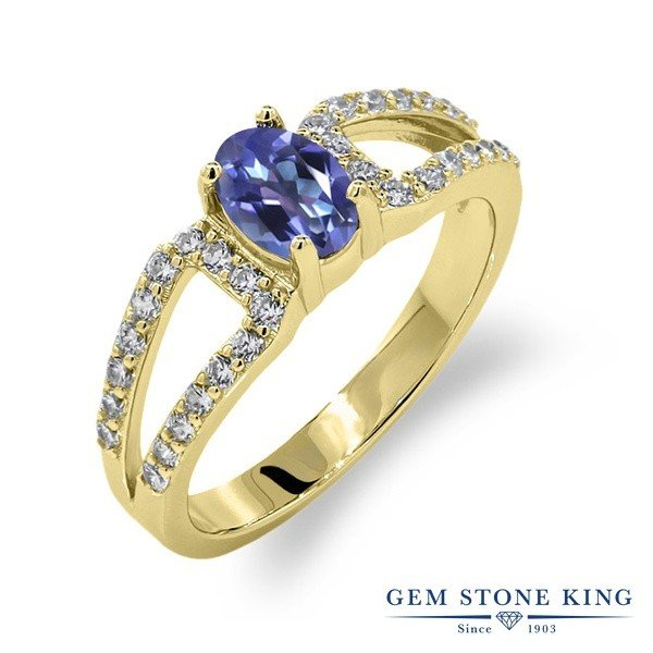 指輪 リング 1.43カラット 天然ミスティックトパーズ(タンザナイトブルー) シルバー 925 イエローゴールドコーティング