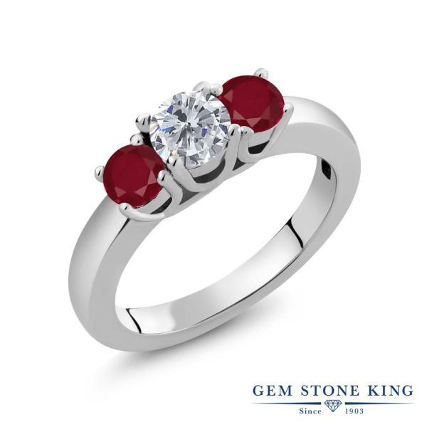 指輪 リング 1.10カラット 天然ダイヤモンド 天然ルビー シルバー925
