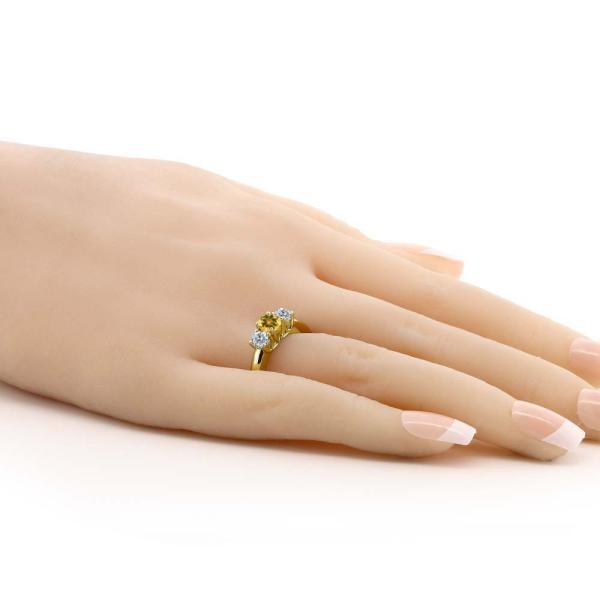 指輪 リング 0.95カラット 天然シトリン シルバー 925 イエローゴールドコーティング 天然ダイヤモンド