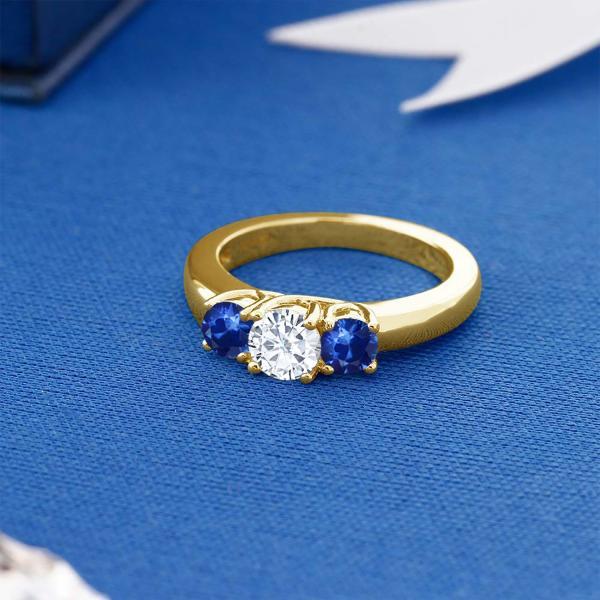 指輪 リング 1.22カラット モアッサナイト Charles & Colvard 天然サファイア 18金 イエローゴールド(K18)