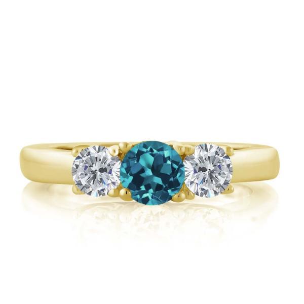 指輪 リング 1.00カラット 天然トパーズ(ロンドンブルー) シルバー 925 イエローゴールドコーティング 天然ダイヤモンド
