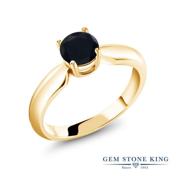 指輪 リング 0.46カラット 天然ブラックオニキス シルバー 925 イエローゴールドコーティング
