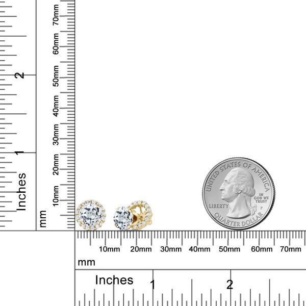 ピアス 3.64カラット 天然トパーズ(無色透明) シルバー 925 イエローゴールドコーティング