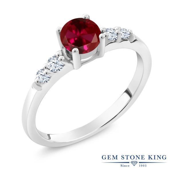 指輪 リング 0.77カラット 合成ルビー 合成ホワイトサファイア(ダイヤのような無色透明) シルバー925