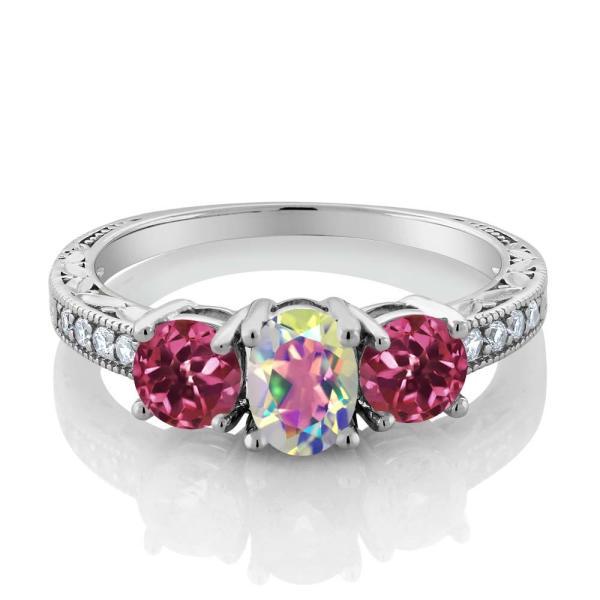 指輪 リング 1.92カラット 天然石 ミスティックトパーズ(マーキュリーミスト) 天然トルマリン(ピンク) シルバー925