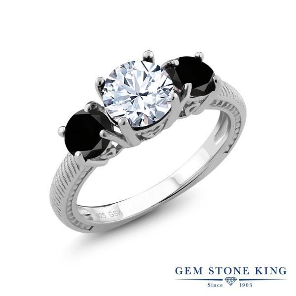 指輪 リング 2.75カラット 天然トパーズ(無色透明) シルバー925 天然ブラックダイヤモンド