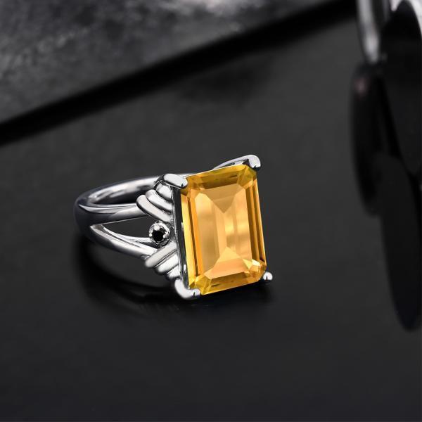 指輪 リング 8.03カラット 天然シトリン シルバー925 天然ブラックダイヤモンド