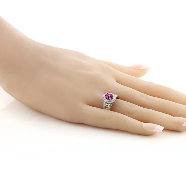 指輪 リング 1.36カラット 合成ピンクサファイア シルバー925