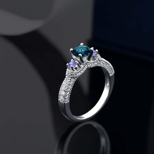 指輪 リング 1.78カラット 天然ブルーダイヤモンド 天然石 タンザナイト シルバー925